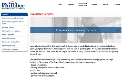 Screenshot of Services Page philliberresearch.com - Evaluation Services - Philliber Research & Evaluation - captured Nov. 5, 2016