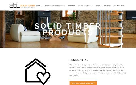 Screenshot of Products Page solidtimberbenchtops.com.au - Solid Timber Products - captured April 11, 2017