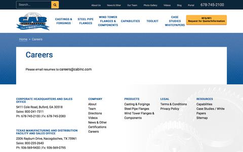 Screenshot of Jobs Page cabinc.com - Careers - Buford, Georgia - CAB Incorporated - captured Sept. 25, 2018