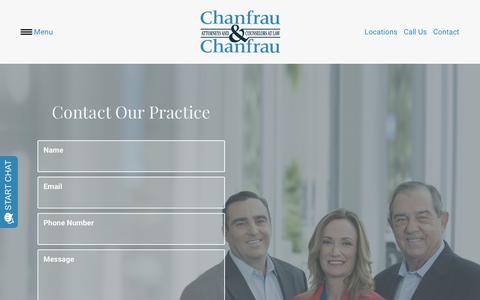 Screenshot of Contact Page chanfraulaw.com - Contact Us - Chanfrau & Chanfrau - captured Sept. 27, 2018