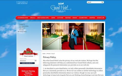 Screenshot of Privacy Page grandhotel.com - Grand Hotel Mackinac Island privacy policy - America's True Grand Hotel - captured Sept. 22, 2014