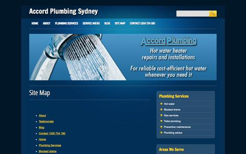 Screenshot of Site Map Page accordplumbingsydney.com.au - Site Map | Accord Plumbing Sydney - captured Oct. 4, 2014