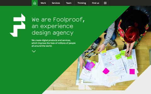 Screenshot of Home Page foolproof.co.uk - User experience design agency: UX research, design & strategy | Foolproof - captured Sept. 19, 2014