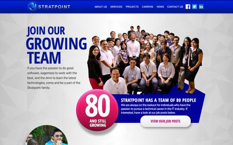 Screenshot of Jobs Page stratpoint.com - Careers | Stratpoint – Web and Mobile Development Services - captured Sept. 30, 2014