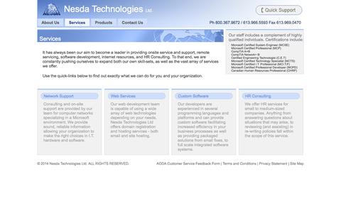 Screenshot of Services Page nesda.ca - Services • Nesda Technologies Ltd. - captured Oct. 9, 2014