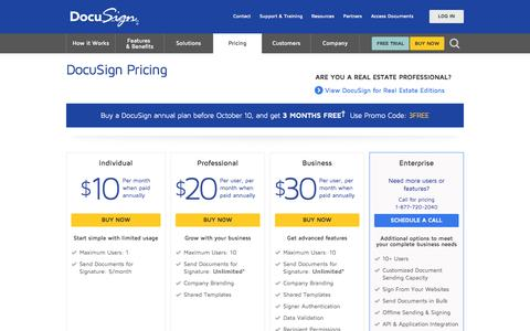 Screenshot of Pricing Page docusign.com - Pricing   DocuSign - captured Oct. 10, 2014
