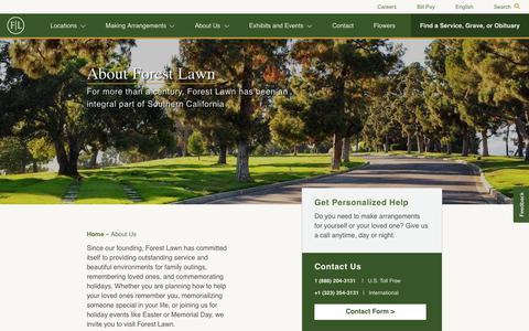 Screenshot of About Page forestlawn.com - About Us - Forest Lawn - captured Sept. 23, 2018