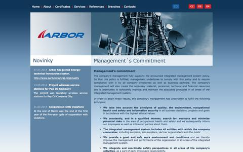 Screenshot of Team Page arbor.as - Management´s Commitment | Arbor a.s. - captured Oct. 5, 2014