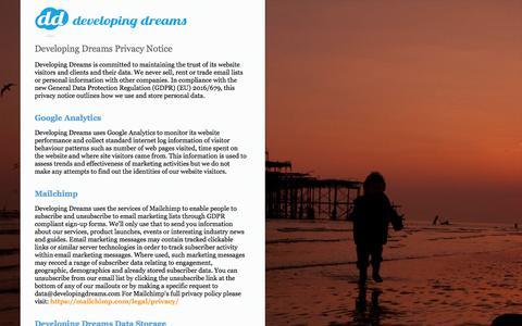 Screenshot of Privacy Page developingdreams.com - Brighton Digital Creative Agency | Developing Dreams - captured Aug. 6, 2018