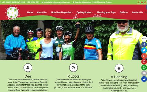 Screenshot of Testimonials Page cyclingmagnolias.com - Cyclists Testimonials | Cyclinga Magnolias testimonials from happy cyclists - captured July 8, 2018