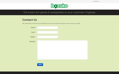 Screenshot of Contact Page bozuko.com - Bozuko - captured Oct. 22, 2014