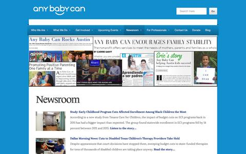 Screenshot of Press Page anybabycan.org - Newsroom | Any Baby Can - captured Nov. 21, 2016