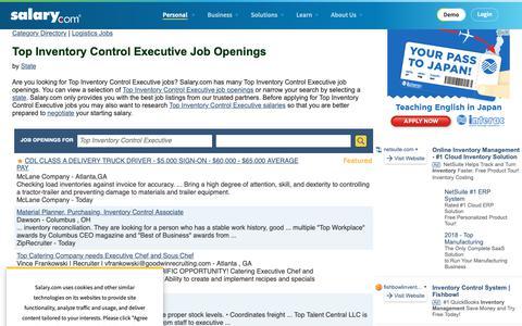 Screenshot of Jobs Page salary.com - Top Inventory Control Executive Job Openings | Salary.com - captured Oct. 26, 2018