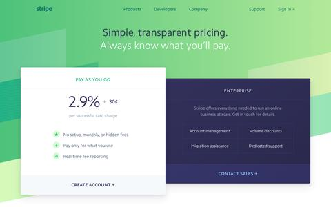 Screenshot of Pricing Page stripe.com - Stripe: Pricing - captured Oct. 19, 2016