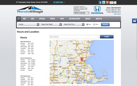 Screenshot of Hours Page hondavillage.com - Store Hours & Directions - captured Sept. 30, 2014