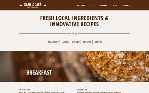Screenshot of Menu Page katiesbakerycafe.com - Menu   Katie's Bakery Café - captured Jan. 16, 2016