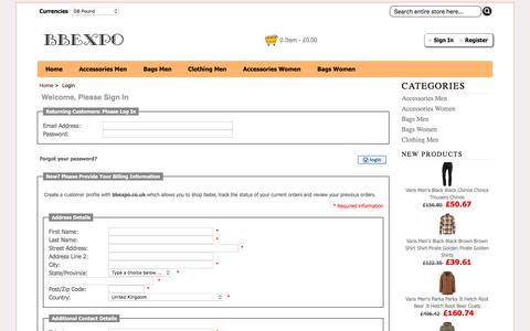 Screenshot of Login Page bbexpo.co.uk - Login : Rucksacks,Scarves,Gloves,Laptop Bags   For Sale - captured Oct. 10, 2017