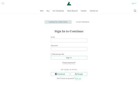 Screenshot of Login Page bozzuto.com - Sign Up | Bozzuto - captured Sept. 6, 2019