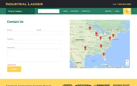 Screenshot of Contact Page Locations Page industrialladder.com - Contact Us - captured Dec. 4, 2016