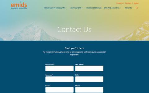 Screenshot of Contact Page emids.com - Contact | emids Technologies - captured July 19, 2018