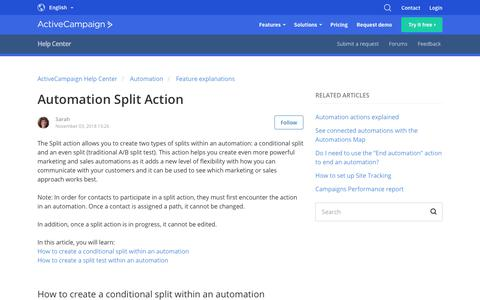 Screenshot of Support Page activecampaign.com - Automation Split Action – ActiveCampaign Help Center - captured June 18, 2019