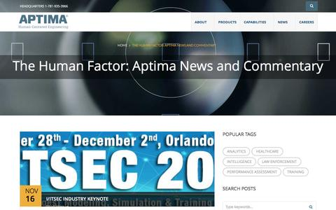 Screenshot of Press Page aptima.com - The Human Factor: Aptima News and Commentary - Aptima - captured Nov. 21, 2016