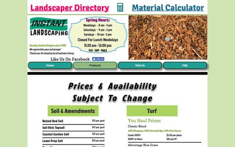 Screenshot of Products Page instantlandscaping.com - Bulk Products Price List | Central Oregon | Instant Landscaping Co. - captured July 2, 2018