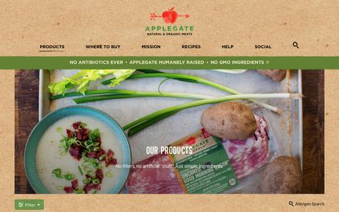 Screenshot of Products Page applegate.com - Products - Fresh, Deli and Frozen - Applegate - captured May 30, 2017