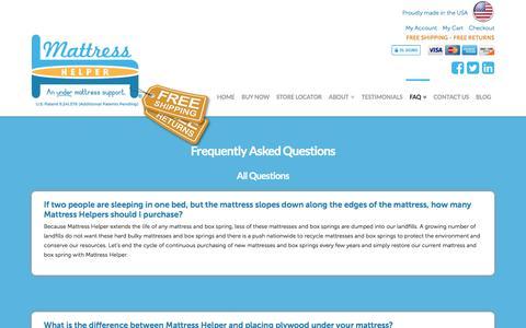 Screenshot of FAQ Page mattresshelper.com - Who, What, Where, Why, How, Under Mattress Support   FAQs - captured Oct. 17, 2017