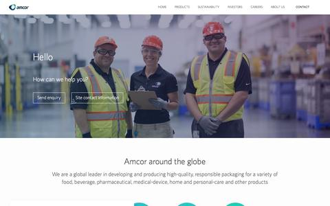 Screenshot of Contact Page amcor.com - Amcor | Contact Us - captured July 28, 2018