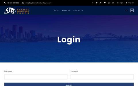 Screenshot of Login Page sydneyadventuretours.com - Login - Sydney Adventure Tours - captured Nov. 24, 2018