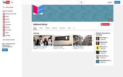 Screenshot of YouTube Page youtube.com - AddisonLibrary  - YouTube - captured Oct. 23, 2014