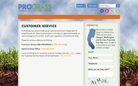 Screenshot of Support Page prograss.com - Customer Service - Prograss - captured Oct. 3, 2014