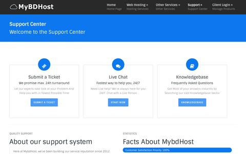 Screenshot of Support Page mybdhost.com - Support | My BD Host - captured Oct. 30, 2014