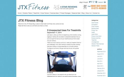 Screenshot of Blog jtxfitness.com - JTX Fitness Blog | Health and Fitness News, Advice and Tips - captured Sept. 29, 2014