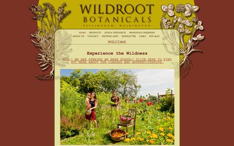 Screenshot of Home Page wildrootbotanicals.com - Wildroot Botanicals, Bellingham, WA : Welcome - captured Oct. 7, 2014