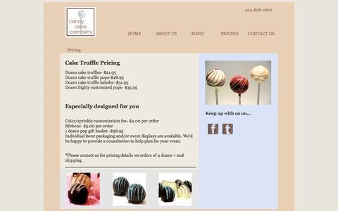 Screenshot of Pricing Page candycakecompany.com - Pricing: Candy Cake Company   Hand Made Cake Truffles: Atlanta, Ga - captured Sept. 27, 2014