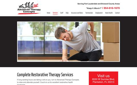 Screenshot of Services Page a-therapyconcepts.com - Restorative Therapy | Muscle Sprain | Plantation, FL - captured Oct. 7, 2017