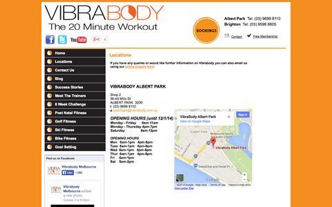 Screenshot of Locations Page vibrabody.com.au captured Oct. 7, 2014