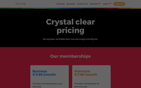 Screenshot of Pricing Page bunq.com - bunq   Pricing - captured Aug. 5, 2019