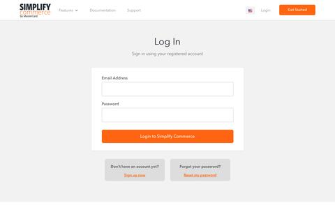 Screenshot of Login Page simplify.com - Login | Simplify Commerce - captured Nov. 19, 2016