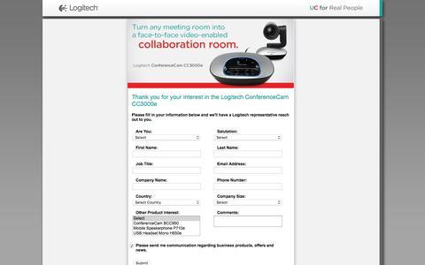 Screenshot of Landing Page logitech.com captured Feb. 10, 2016