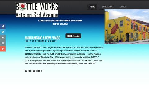 Screenshot of Home Page artworksinjohnstown.org - BOTTLE WORKS - captured Sept. 30, 2014