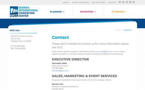 Screenshot of Contact Page gicc.com - Contact - Georgia International Convention Center - captured Sept. 28, 2018