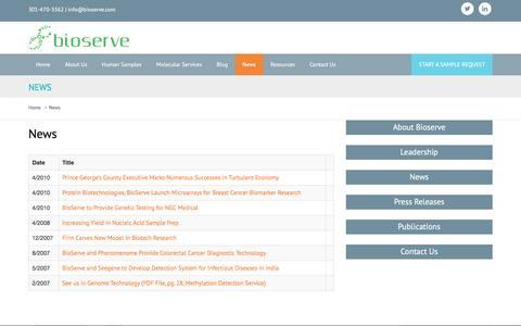 Screenshot of Press Page bioserve.com - News - Bioserve - captured July 29, 2016