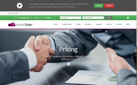Screenshot of Pricing Page hosteddialer.co.uk - Price of Dialling Packages | Hosted Dialer - captured Feb. 17, 2016