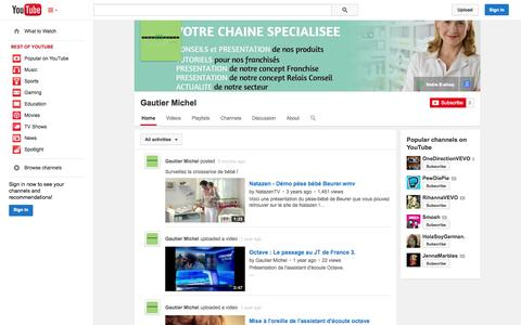 Screenshot of YouTube Page youtube.com - Gautier Michel  - YouTube - captured Oct. 22, 2014