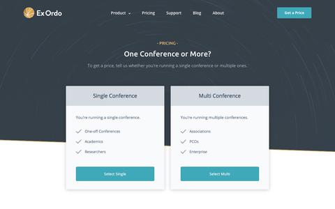Screenshot of Pricing Page exordo.com - Conference Pricing | Ex Ordo - captured April 27, 2018