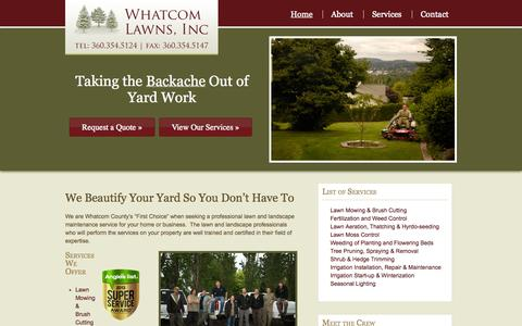 Screenshot of Home Page whatcomlawns.com - Bellingham Landscape Maintenance | Lawn Care | Whatcom Lawns - captured Oct. 6, 2014