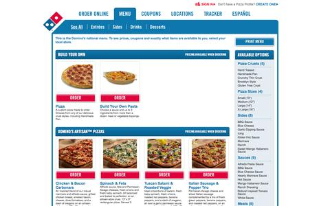 Screenshot of Menu Page dominos.com - Domino's Pizza, Order Pizza Online for Delivery - Dominos.com - captured Sept. 19, 2014